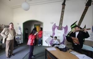 practising in Trossingen Music School with the guidance of harmonica virtuoso Mr. Watani